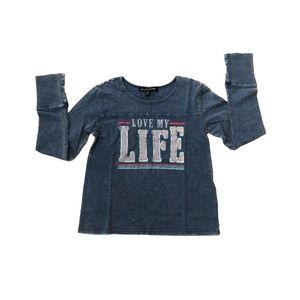 Girls Long Sleeve T-Shirt Ribbed Cuff Shaded Blue